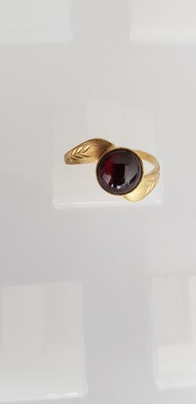 Anel Ouro 750 Kilates Pedra Preciosa Granada Rodolita Linda!