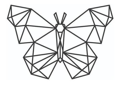 Imagem 1 de 3 de Quadro Borboleta Geométrica Mdf Preto Decoração - Novidade