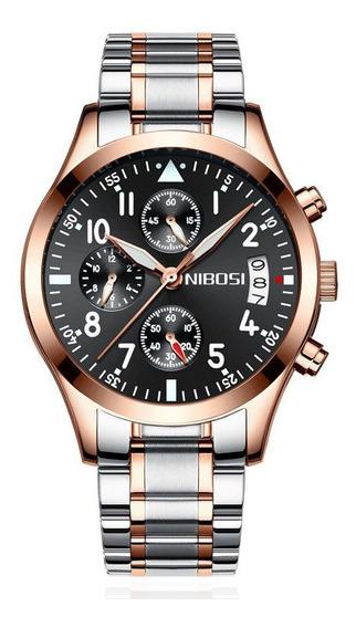 Relógio Nibosi Rose Original Cronógrafo 100% Funcional Luxo