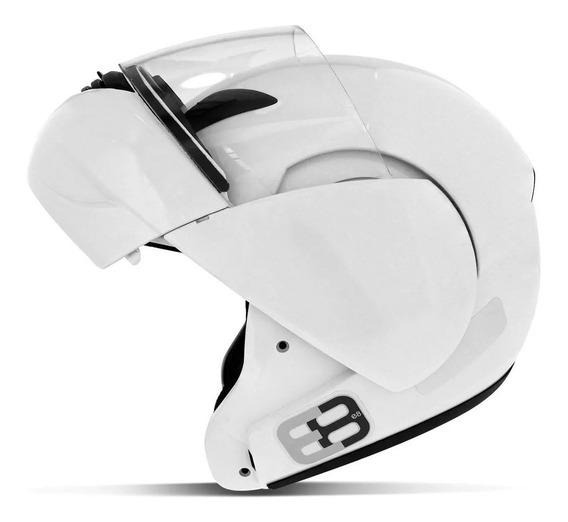 Capacete E8 Robocop N58 Branco Articulado Com Viseira Ebf