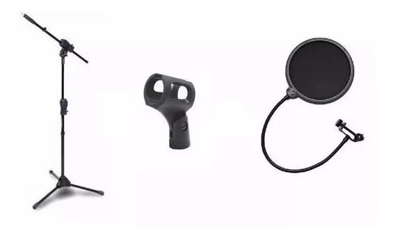 Kit Pedestal Microfone Smmax Ibox + Pop Filter + Cachimbo