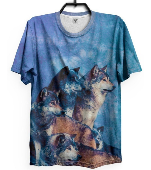 Camiseta T-shirt Lobo Wolf 3d Tumblr Tie Dye Wolves Animal