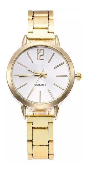 Relógio Feminino Bracelete Pulseira Cor Dourado