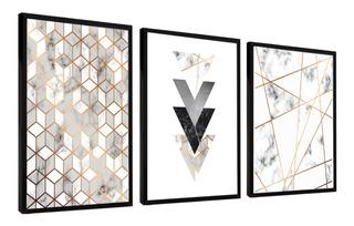 Quadro Mosaico Abstratos Lindos Geométricos Quarto Sala