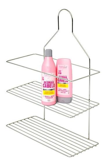 Suporte Shampoo Aramado Duplo Cromado Registro