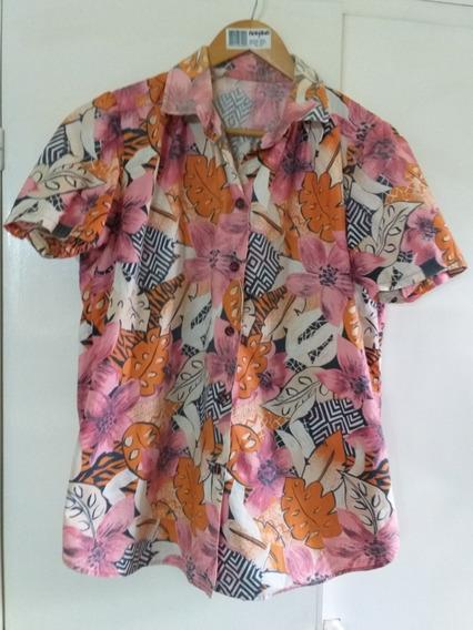 Camisa Algodon Pregastado Mujer Flores L
