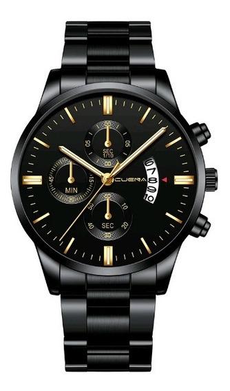 Relógio Masculino Preto Black Motion Design Quartz Metal