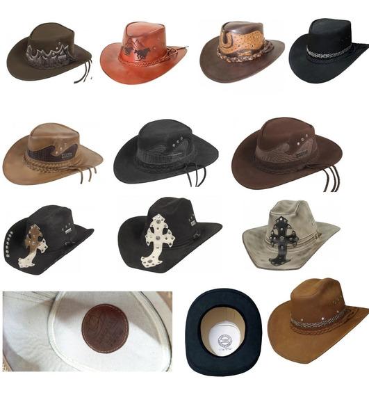 Chapéus Em Couro Legitimo Largadão Vários Modelos E Brinde