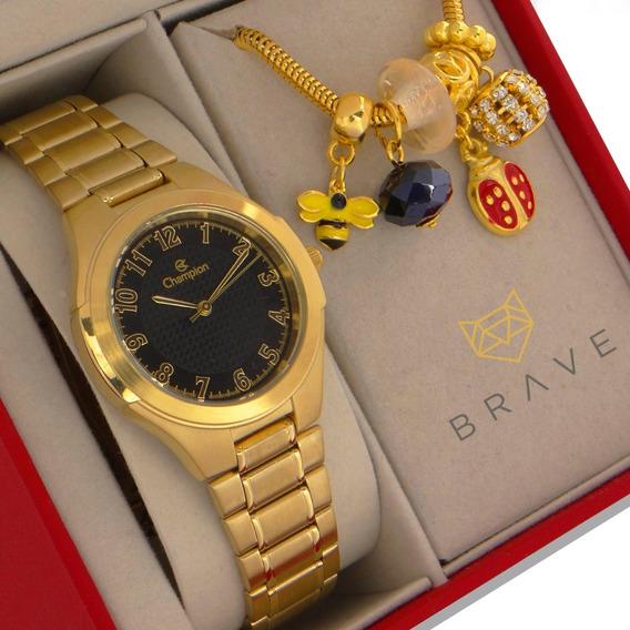 Relógio Champion Feminino Dourado Com Pulseira Berloque Ouro Prova D