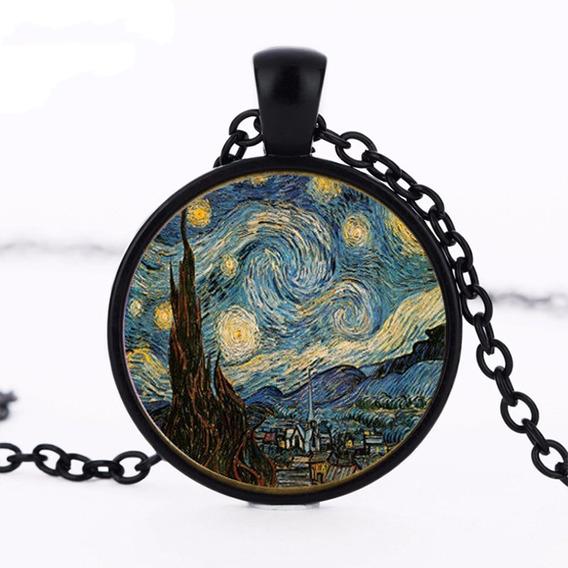 Collar Dije La Noche Estrellada Van Gogh Negro Envio Gratis