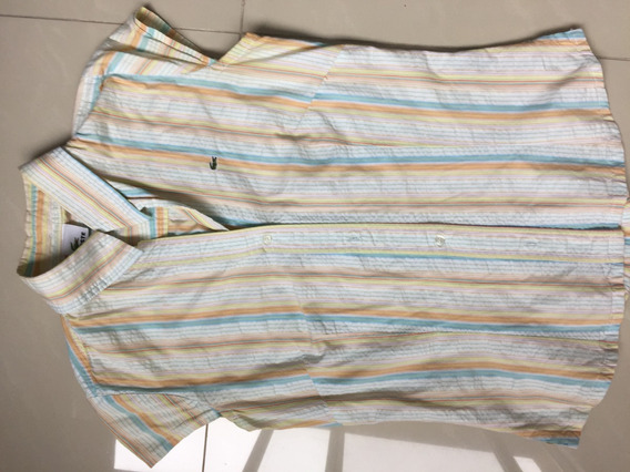 Camisa Lacoste Original Mujer Rayada Talle S