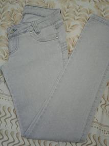 Brechó Calça Jeans Sawary 38 Cinza Com Prata