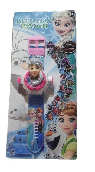 01 Relógio Infantil C/projetor De Imagem Frozen Elsa