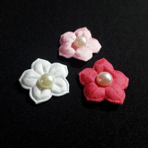 Ack-2441 Aplique De Flor Blanca Con Perla De 20mm Por 200uni