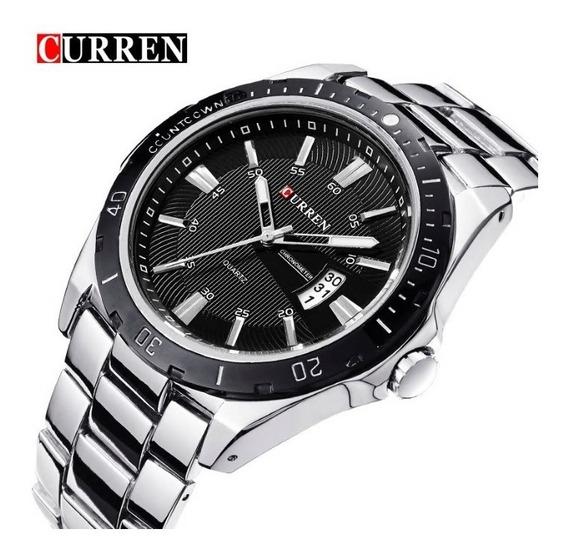 Relógio Masculino Curren 8110 - Prata E Preto