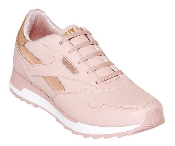 Calzado Tenis Dama Mujer Moda Casual Metalico Tipo Piel Rosa