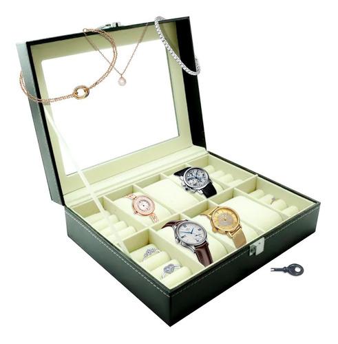 Caja Organizadora 6 Relojes 6 Anillos Excelente Guardar