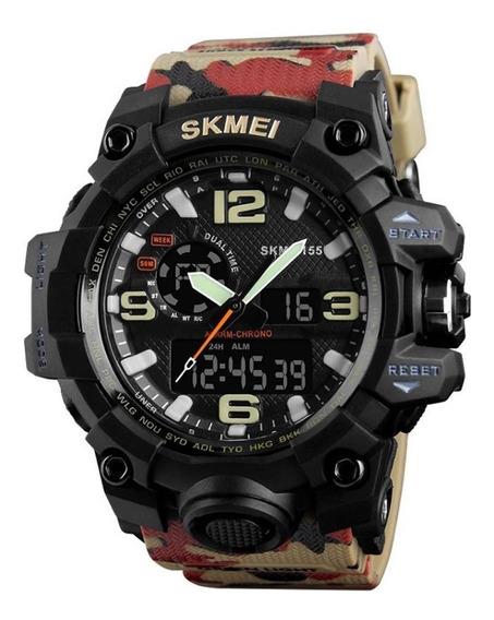 Relógio Anadigital Skmei Unissex Bege Camuflado