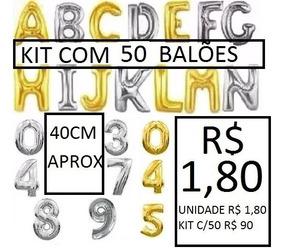 Balão Metalizado De Numero Ou Letra 40cm (r$1,80 Atacado)
