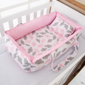Ninho Redutor Alça Bebê Menina Nuvem Rosa 2 Peças