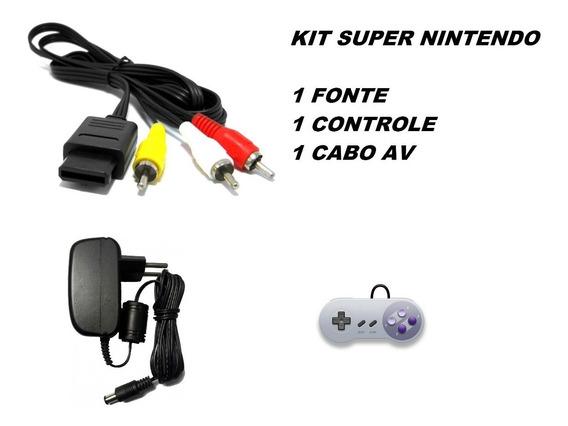Kit Super Nintendo Baby Fat Nes Famicom Cabo Av Controle
