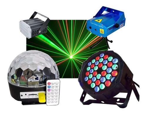 Combo Luces Led Dj Fiesta Bola + Proton 36 + Laser + Flash