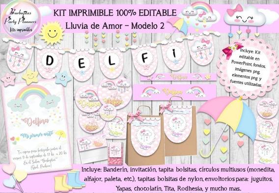 Kit Imprimible Candy Bar Lluvia De Amor Mod.2 100% Editable