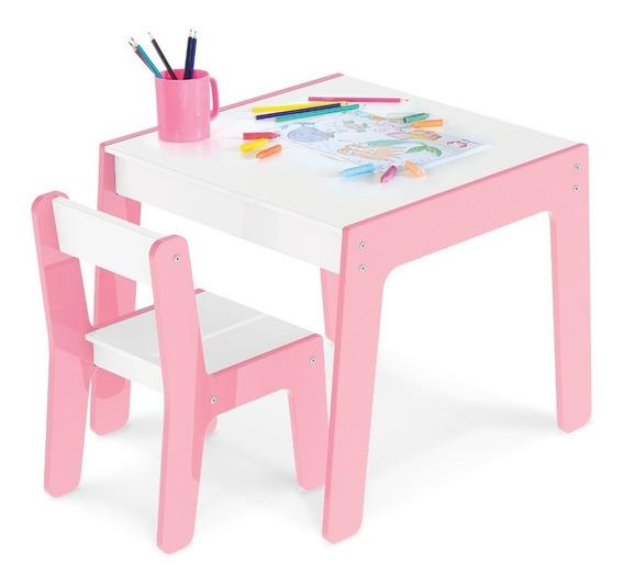 Conjunto Mesa Mesinha Com 1 Cadeira Infantil Rosa Junges 990