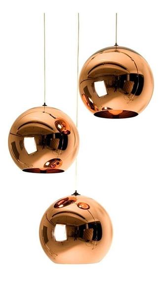 Luminária Lustre 35cm Pendente Teto Vidro Cobre Dixon Led Bar Cozinha Restaurante Loja Sala Refletor Gimpo Mh601-35c