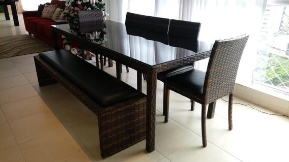 Mesa Com 3 Cadeiras, Banco, Aluminio E Fibra.