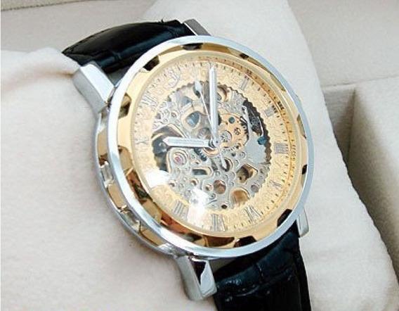 Relógio De Luxo Automático Gold Skeleton Raríssimo!