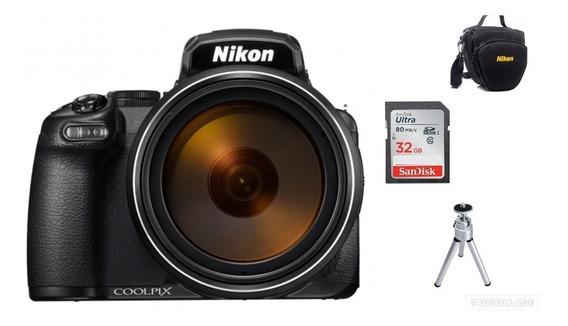 Câmera Nikon Coolpix P1000-4k Zoom 125x 32gb+bolsa+tripé