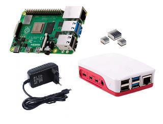 Raspberry Pi 4 Pi4 1gb+ Fuente 5v3a+case Oficial+disipadores