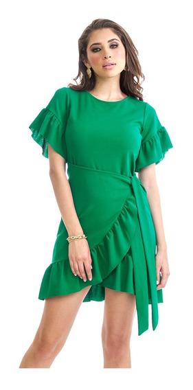 Vestido Dama Verde Jade Devendi Cruzado Y Olanes En Mangas