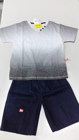 Conjunto Infantil Masculino Camiseta Em V Com Bermuda Dk