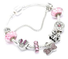 Pulseira Tipo Pandora Vivara Infantil Minnie Rosa Completa