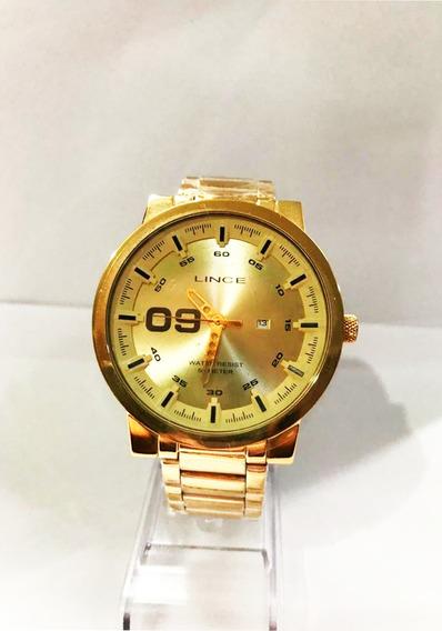 Relógio Lince Masculino Dourado Mrgh017s C2kx