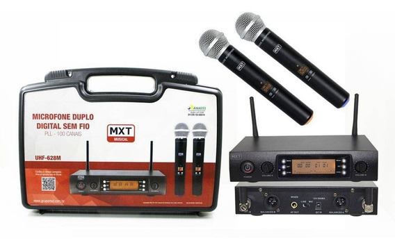 Microfone Mxt Uhf Sem Fio Uhf-628m 54.1.123 Duplo