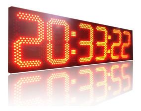 Relogio Digital De Leds 6 Dígitos 978 Leds [130 X 36 Cm]