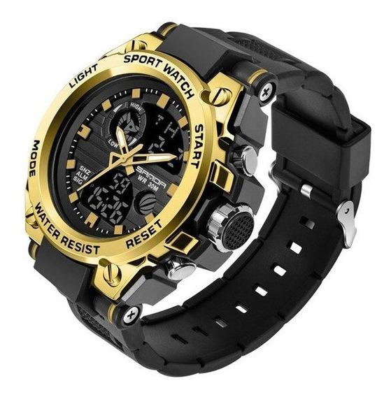 Relógio Masculino Esportivo Militar Digital Silicone Dourado