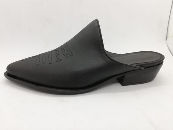 N° 35 Suecos Texanos Cuero Vacuno Negro Zapatos Abryl