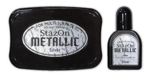 Tsukineko Stazon Metallic Stazon Inkpad Set Metallic Silver