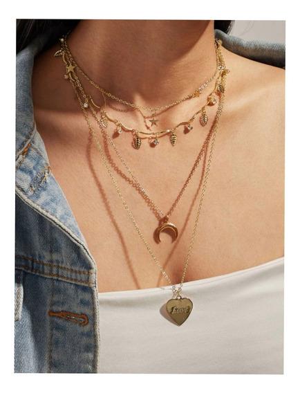 Collar Largo Cuádruple ( Estrella, Luna, Corazón Y Hojas)
