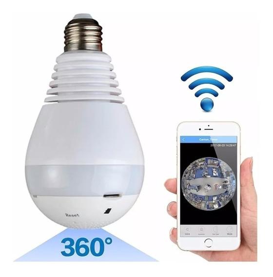 Lampara Camara Espia Ledhd 360° 64gb Alarma Sensor Seguridad