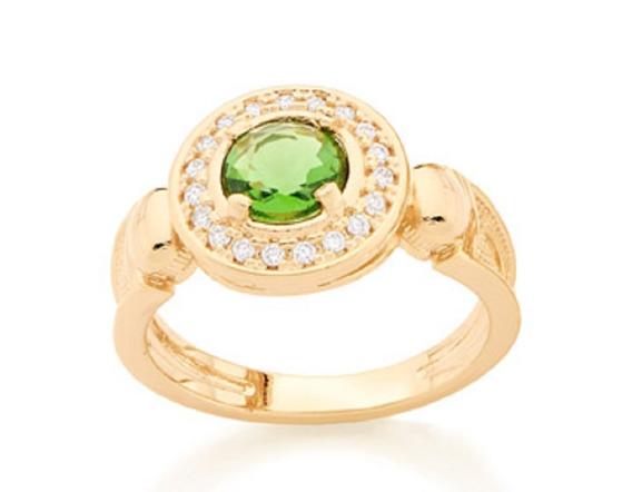 Anel Folheado A Ouro Rommanel Formatura De Cristal 511754