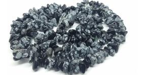 Colar De Cascalho De Pedra Obsidiana Flocos De Neve Natural