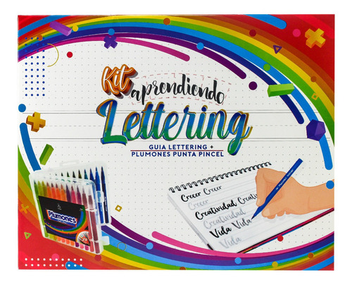 Kit Aprendiendo Lettering + Plumones Punta Pincel X24