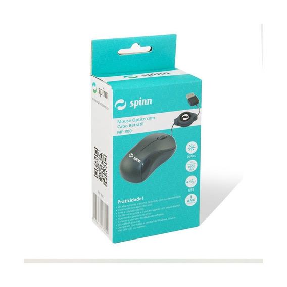 Mouse Spinn Óptico Com Cabo Retrátil Mp 300