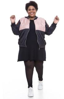 Jaqueta Corta Vento Plus Size Sabiha Color Block Preto Rosa