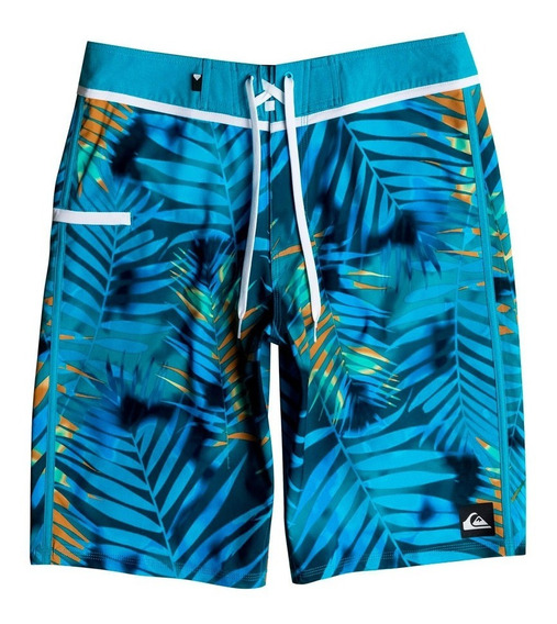 Traje De Baño Hombre Short Estampado Hojas Azules Quiksilver
